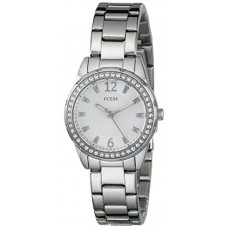 GUESS Women's U0445L1 Sporty Silver-Tone Watch with White Dial , Crystal-Accented Bezel and Stainless Steel Pilot Buckle