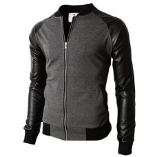 H2H Men Long Sleeves Button Front Letters Varsity Jacket CHARCOAL US S/Asia M (KMOJA0126)