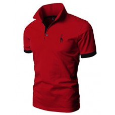 H2H Mens Polo Shirt Classic Causal Business Slim Fit Cotton T Shirts Redblack US 3XL/Asia 6XL (JDSK36)