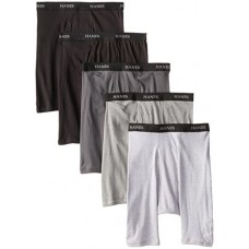 Hanes Ultimate Men's 5-Pack FreshIQ Assorted Long Leg Boxer with ComfortFlex Waistband Briefs, Large
