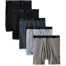 Hanes Ultimate Men's 5-Pack FreshIQ Boxer Brief, Black/Grey Assorted, Medium