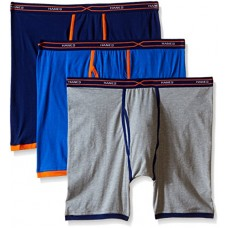 Hanes Men's 3-Pack X-Temp Active Cool Long Leg Boxer Brief, Assorted, XX-Large