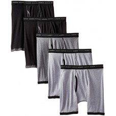 Hanes Men's 5-Pack FreshIQ No Ride Up Dyed Boxer Briefs, Assorted, X-Large