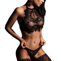 Lingerie Set,Haoricu 2017 Hot Sale! Women Fashion Lingerie Lace Babydoll Underwear Bra+Pants Set (M, ❤️Black)