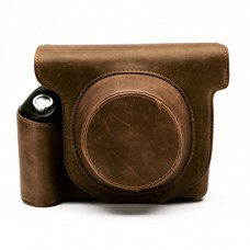 Hellohelio Vintage Leatherette limited Edition groove Bag for Instax Wide 300 Instant Film Camera Case with strap - Brown