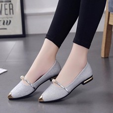 Low Heel Flat Shoes,Hemlock Women Comfortable Slippers Dress Sandals Shoes Pointed Toe Oxford Shoes (US:7, Silver)
