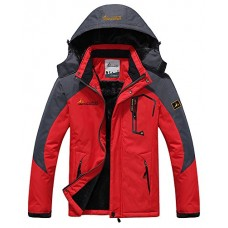 Men's Fleece Outerwear Jackets Outdoor Waterproof Coat Athletic Shell Hooded Red US S/Tag XL