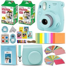 Fujifilm Instax Mini 9 Instant Camera ICE BLUE + Fuji INSTAX Film (40 Sheets) + Accessories Kit Bundle + Custom Case with Strap + Assorted Frames +...