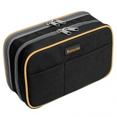 """Pencil Case, Homecube Large Capacity Pen Bag Makeup Pouch Durable Students Stationery Two Big Pockets With Double Zipper 8.7x6x3.2"""" (Black)"""