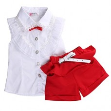 Fancy Baby Girls Princess Lace Floral Tops Shirt+short Pants Outfits Set Twinset (6-7 Years, White&red)