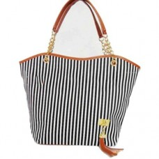 Hotportgift Fashion Stripe Design Women Street Snap Candid Tote Single Shoulder Canvas Bag Handbag (black)