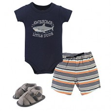 Hudson Baby Baby Cotton Bodysuit, Shorts and Shoe 3 Piece Set, Shark, 12-18 Months