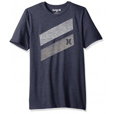 Hurley Men's Apparel Men's Premium Icon Slash Graphic Short Sleeve Tee Shirt, Obsidianheather, XXL