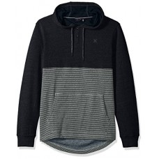 Hurley Men's Textured With Stripe Pullover Hoodie, Black, L