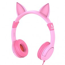 iClever Kids Headphones, Cat-inspired Wired On-Ear Headsets with 85dB Volume Limited, Food Grade Silicone (Kids-friendly), 3.5mm Audio Jack, Childr...