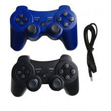 Ps3 Controller Wireless Bluetooth Controller with Charger Cable - 2 Pack ( Blue and Black - Compatible with Playstation 3 PS3 )