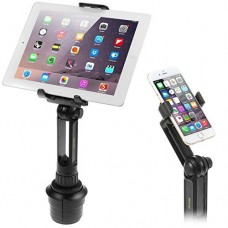 Cup Mount Holder iKross 2-in-1 Tablet and Smartphone Adjustable Swing Cradle with Extended Cup Car Mount Holder Kit for Apple iPad iPhone Samsung A...