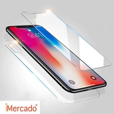 Screen Protector iPhone X iMercado (Pack of 2, Tempered Glass, Front and Back)