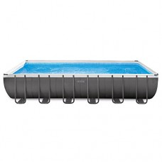 Intex 24ft X 12ft X 52in Ultra Frame Rectangular Pool Set with Sand Filter Pump & Saltwater System, Ladder, Ground Cloth, Pool Cover, Deluxe Mainte...