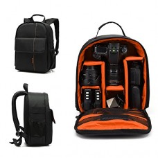 IOKHEIRA Camera Bag Camera Backpack Waterproof with Tripod Holder for DSLR Cameras/Lens/Tripod and Other Accessories (Style2-Black-Orange)