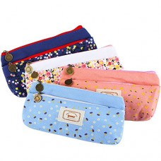 IPOW Flower Floral Canvas Cosmetic Pen Pencil Stationery Pouch Bag Case, Pastorabl, Set of 4