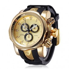 JIANGYUYAN mens' watches Unique Fashion Casual Business watchs Waterproof Sport Gold Large Dial(2.28in)Big heavy Silicone Band Wrist Watch for men ...