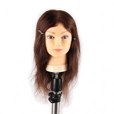 "Jiayi 16"" Mannequin Head 100% Hand-Implanted Human Hair Styling Training Manikin Head Hairdressing Cosmotology Doll Head with Real Hair(16Inch,Brow..."