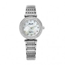 Jiusko Silver Luxury Analog Quartz Watches For Women | Diamond Markers with Mother of Pearl