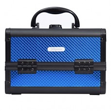 """Joligrace 9"""" Makeup Case Portable Cosmetic Storage Box with Mirror & Trays for Home Bathroom and Travel Blue"""