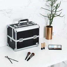 """Joligrace Makeup Train Case - 12"""" Aluminum Carrier Cases Large Box Metal Storage with 6 Trays Ribbed Surface - Black"""