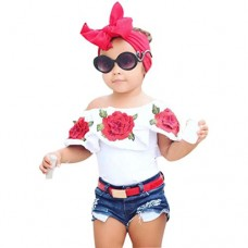 kaifongfu Baby Girls Tops,Clearance Kids Tops Baby Girls Off Shoulder 3D Rose Flower T Shirt Outfits Clothes (3T❤️❤️100CM, White)