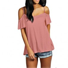 kaifongfu Women Tops, Shoulder Casual Solid Stretch Top Tees Blusas Blouse (L, Pink)