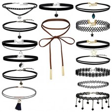 Classic Choker Necklace, Keepfit Women Velvet Gothic Tattoo Lace Necklet for Womens Girls (15 Pieces)