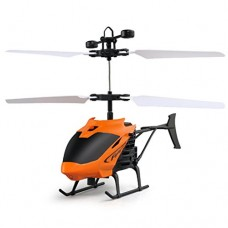 Kids Flying Helicopter, Keepfit Kid's Toys Mini RC Aircraft Flashing Light Toys for Teenagers (Orange)
