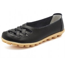 KEESKY Womens Ladies Leather Casual Cut Out Loafers Flat Slip-On Shoes Black Size 6