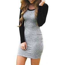 Kissky Women's Color Block Long Sleeve Bodycon Tshirt Dress Dark-XL