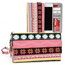 Kroo Multi Tribal Coral   Yellow   Salmon Pink Smartphone Wallet with Bonus Wrist-let fits Apple iPhone 6 6s Plus 5.5-Inch