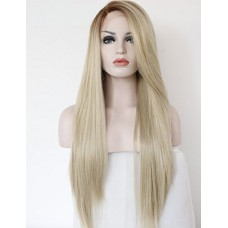 K'ryssma Fashion Ombre Blonde Glueless Lace Front Wigs 2 Tone Color Light Brown Roots #12 Side Part Long Natural Straight Heat Resistant Synthetic ...