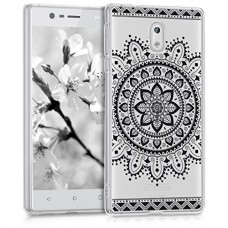 kwmobile Case for Nokia 3 - TPU Silicone back cover case mobile phone protective case - Clear cover Design Aztec flower black transparent