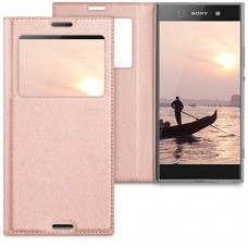 kwmobile Practical and chic FLIP COVER case with window and synthetic leather for Sony Xperia XA1 Ultra in rose gold