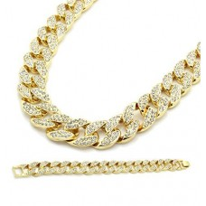 "Gold Color Tone Brass Fully CZ Iced Out 15mm 30"" Hip Hop Miami Cuban Chain & 9"" Bracelet (NOT REAL GOLD)"