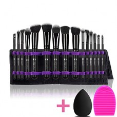 L COSMETIC Makeup Brushes Professional 15 Pcs Makeup Brush Set Synthetic Cosmetic Brushes Eyeshadow Powder Brushes Cleaning and Beauty Sponge With ...