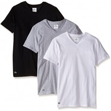 Lacoste Men's Men's 3 Pack Supima Cotton V Neck Tee Underwear, Black, Grey, White, M