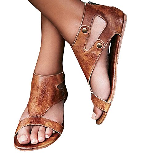 Women Leather Flat Sandals Ankle Buckle Shoes Casual Peep Toe Shoes Summer **