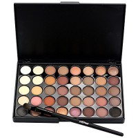 LandFox Cosmetic Matte Eyeshadow Cream Makeup Palette Shimmer Set 40 Color+ Brush Set+Fishtail Bottom Brush (A)