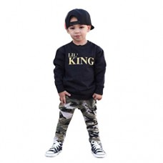 Lanpan Baby Boy Letter T shirt Tops+Camouflage Pants Outfits Clothes Set, Black, (5T)