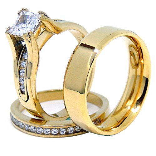 Couples Ring Set Womens 14K Gold Plated Princess CZ