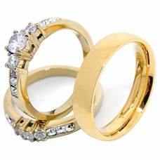 His Hers Couples Rings Set 14K Gold Plated Small Round CZ Wedding Ring set Mens Matching Band - Size W8M11