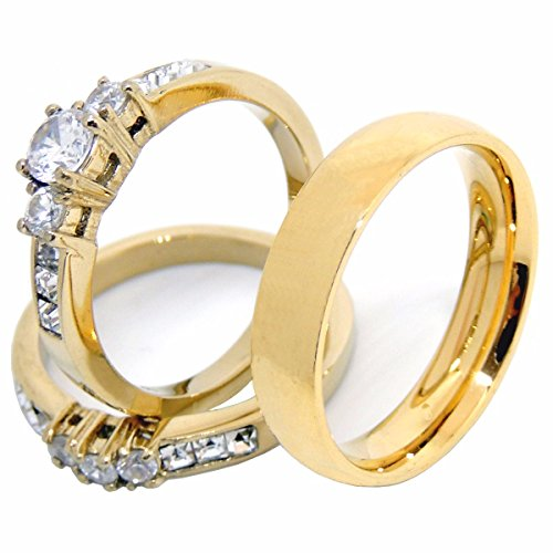 His Hers Couples Rings Set 14K Gold Plated Small Round CZ ...