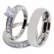 His Hers Couples Rings Set 3 PC Stainless Steel Princess CZ Wedding Ring Set Mens Wedding Band - Size W8M8